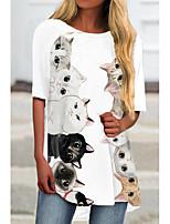 cheap -Women's T Shirt Dress Tee Dress Short Mini Dress White Rainbow Half Sleeve Cat Animal Print Spring Summer Round Neck Casual 2021 S M L XL XXL 3XL