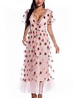 cheap -Women's A Line Dress Maxi long Dress Pink High elasticity Short Sleeve Print Solid Color Patchwork Print Summer V Neck Casual Puff Sleeve 2021 S M L XL XXL