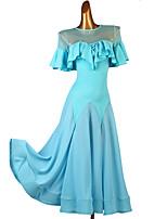 cheap -Ballroom Dance Dress Ruffles Split Joint Women's Training Short Sleeve Chinlon Mesh Chiffon