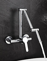 cheap -Kitchen faucet - Single Handle Two Holes Electroplated / Painted Finishes Pull-out / Pull-down / Pot Filler Wall Mounted Contemporary Kitchen Taps