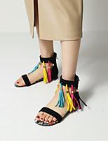 cheap -Women's Sandals Boho Bohemia Beach Flat Heel Open Toe Nubuck Tassel Animal Patterned Color Block Black