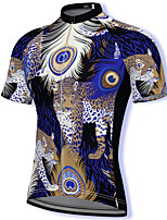 cheap -21Grams Men's Short Sleeve Cycling Jersey Spandex Blue Leopard Bike Top Mountain Bike MTB Road Bike Cycling Breathable Quick Dry Sports Clothing Apparel / Athleisure