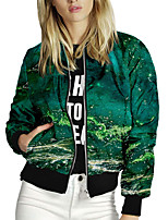 cheap -Women's Print Print Active Spring &  Fall Jacket Regular Daily Long Sleeve 95% polyester 5% cotton Coat Tops Green