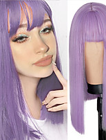 cheap -Synthetic Wig Natural Straight Neat Bang Wig Medium Length Bright Purple Synthetic Hair Women's Cosplay Party Fashion Purple