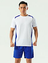 cheap -Men's Hiking Tee shirt with Shorts Short Sleeve Clothing Suit Outdoor Quick Dry Lightweight Breathable Stretchy Autumn / Fall Spring Summer Spandex Polyester White Red Blue Fishing Climbing Camping
