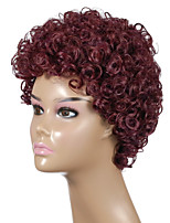 cheap -Synthetic Wig Afro Curly Asymmetrical Wig 24 inch Wine Red Synthetic Hair Women's Party Fashion Comfy Burgundy