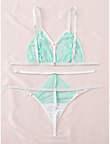 cheap -Women's Layered Lace Hole Matching Bralettes Suits Nightwear Solid Colored Embroidered Bra Green XS S M