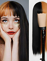 cheap -Synthetic Wig Straight Neat Bang Wig Medium Length A10 A11 A12 A13 A14 Synthetic Hair Women's Cosplay Party Fashion Red Brown