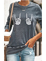 cheap -Women's T shirt Skull Long Sleeve Round Neck Tops Basic Basic Top Green Dark Gray