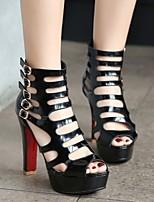 cheap -Women's Sandals High Heel Peep Toe PU Synthetics Black