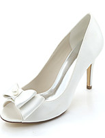 cheap -Women's Wedding Shoes Stiletto Heel Peep Toe Wedding Pumps Satin Bowknot Pearl Solid Colored White Red Champagne