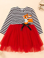 cheap -Kids Little Girls' Dress Deer Striped Bow Print Red Long Sleeve Active Dresses Summer Regular Fit 2-6 Years