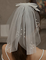 cheap -One-tier Cute Wedding Veil Shoulder Veils with Faux Pearl / Satin Bow 15.75 in (40cm) Lace / Tulle