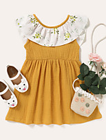 cheap -Kids Toddler Little Girls' Dress Polka Dot Graphic Sundress Print Yellow Knee-length Sleeveless Active Dresses Summer Regular Fit 2-8 Years