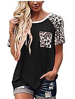 cheap -Women's T shirt Leopard Patchwork Round Neck Tops Sexy Basic Top White Black Blue