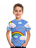 cheap -Kids Boys' T shirt Tee Short Sleeve Graphic 3D Rainbow Print Children Tops Active Blue