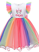 cheap -Kids Little Girls' Dress Rainbow Cartoon Bow White Purple Blushing Pink Midi Sleeveless Cute Dresses Regular Fit