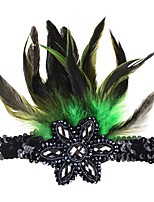 cheap -Sequined Feather Elastic Hairband With Diamond-studded Headdress Flower-shaped Accessories Hair Accessories