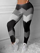 cheap -Women's Colorful Fashion Comfort Weekend Gym Leggings Pants Color Block Geometric Ankle-Length Sporty Elastic Waist Print Black