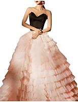 cheap -Ball Gown Color Block Luxurious Quinceanera Prom Dress Sweetheart Neckline Sleeveless Floor Length Tulle with Pleats Tier 2021