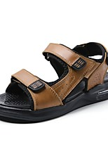 cheap -Men's Sandals Casual Daily Outdoor Walking Shoes Nappa Leather Breathable Non-slipping Light Brown Dark Brown Black Summer