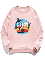 cheap -Women's Pullover Sweatshirt Letter Print Daily Other Prints Basic Hoodies Sweatshirts  White Blue Blushing Pink