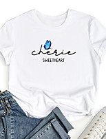 cheap -Women's T shirt Graphic Butterfly Letter Print Round Neck Tops 100% Cotton Basic Basic Top White Black Blue