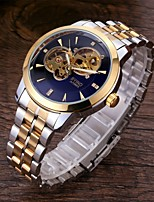 cheap -Men's Mechanical Watch Analog Automatic self-winding Minimalist Hollow Engraving Noctilucent / One Year / Titanium Alloy
