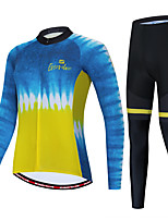 cheap -Women's Long Sleeve Cycling Jersey with Tights Blue+Yellow Bike Sports Graphic Clothing Apparel / Micro-elastic / Athleisure