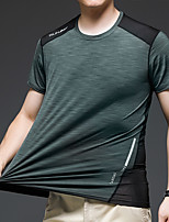 cheap -Men's T shirt Hiking Tee shirt Short Sleeve Crew Neck Tee Tshirt Top Outdoor Quick Dry Lightweight Breathable Stretchy Autumn / Fall Spring Summer Ice Silk Polyester Gray+Green Dark Green Dark Blue