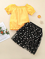 cheap -Kids Little Girls' Dress Sun Flower Floral Solid Colored Flower Birthday Birthday Party Yellow Midi Short Sleeve Regular Sweet Dresses Children's Day Summer Loose 3-8 Years