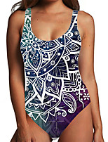 cheap -Women's One Piece Monokini Swimsuit Tummy Control Print Color Block 3D Blue Green Swimwear Bodysuit Strap Bathing Suits New Fashion Sexy