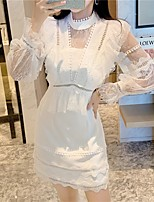 cheap -A-Line Elegant Vintage Homecoming Cocktail Party Dress High Neck Long Sleeve Short / Mini Lace with Tier Lace Insert 2021