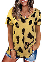 cheap -Women's T shirt Leopard Print V Neck Tops Basic Basic Top White Black Purple