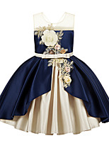 cheap -Princess / Ball Gown Jewel Neck Ankle Length Satin Junior Bridesmaid Dress with Bow(s) / Pleats