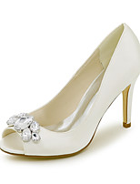 cheap -Women's Wedding Shoes Stiletto Heel Peep Toe Wedding Pumps Satin Rhinestone Solid Colored White Black Purple