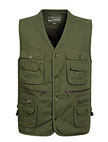 cheap -Men's Hiking Vest / Gilet Fishing Vest Military Tactical Vest Sleeveless Vest / Gilet Jacket Top Outdoor Quick Dry Lightweight Breathable Sweat wicking Spring Summer Cotton Solid Color Army Green
