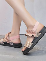 cheap -Women's Sandals Wedge Heel Synthetics Check Black Pink