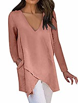 cheap -aihihe women long tops wear with leggings long sleeve v neck tops wrap front irregular twist hem solid blouses tunic orange