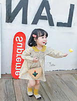 cheap -korean style floral ladies fresh lapel dress for small and medium-sized children, spring 2021 new children's wear on behalf of 3~8 years old