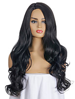cheap -Synthetic Wig Deep Wave Side Part Wig Medium Length Black Synthetic Hair Women's Party Fashion Comfy Black