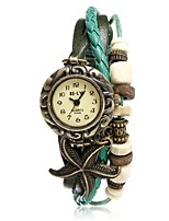 cheap -Women's Quartz Starfish Weave Wrap Synthetic Leather Wrist Watch Dark Green