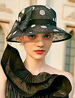 cheap -Lady Vintage Inspired 100% Linen Hats with Bowknot / Polka Dot 1 Piece Party / Evening / Casual Headpiece