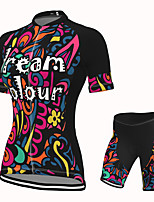 cheap -Women's Short Sleeve Cycling Jersey with Shorts Spandex Black Bike Breathable Quick Dry Sports Graphic Mountain Bike MTB Road Bike Cycling Clothing Apparel / Stretchy / Athletic / Athleisure