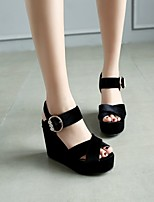cheap -Women's Sandals Wedge Heel Round Toe PU Synthetics Black Yellow Red