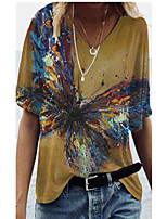 cheap -Women's T shirt Butterfly Print V Neck Tops Basic Basic Top Brown