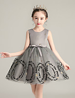 cheap -Princess / Ball Gown Jewel Neck Tulle Junior Bridesmaid Dress with Sash / Ribbon / Bow(s)