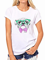 cheap -Women's Tee / T-shirt Pure Color Crew Neck Dog Sport Athleisure T Shirt Top Short Sleeves Breathable Soft Comfortable Everyday Use Street Casual Daily Outdoor