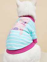 cheap -Dog Cat Shirt / T-Shirt Vest Stripes Animal Basic Adorable Cute Dailywear Casual / Daily Dog Clothes Puppy Clothes Dog Outfits Breathable Red Blue Orange Costume for Girl and Boy Dog 100% Cotton XS S