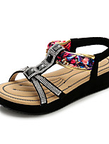cheap -Women's Sandals Boho Bohemia Beach Flat Heel Round Toe Wedge Sandals Classic Daily Cowhide Rhinestone Color Block White Black Blue